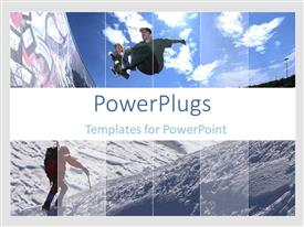 PowerPlugs: PowerPoint template with a teen ager skateboarding and a person climbing a mountain