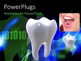 PowerPlugs: PowerPoint template with a teeth with binary numbers in the background