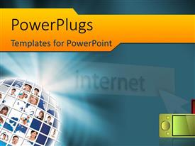 PowerPlugs: PowerPoint template with a large ball with lots of tiles with people's faces