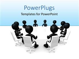 PowerPlugs: PowerPoint template with ten 3D human characters sitting around a white table