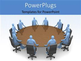 PowerPlugs: PowerPoint template with ten blue colored human characters sitting round a brown table