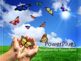 PowerPlugs: PowerPoint template with ten variously colored butterflies and hands that seem to release or catch butterflies on a green field and blue sky background