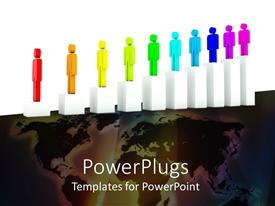 PowerPlugs: PowerPoint template with ten white bars with ten multi colored 3D chracters on them