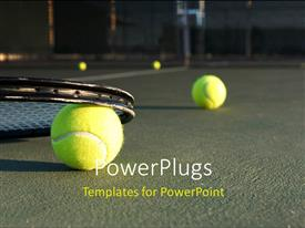 PowerPlugs: PowerPoint template with tennis Balls and Racket on the Court
