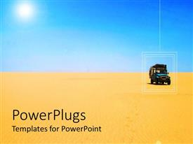 PowerPlugs: PowerPoint template with terrain car driving on the sand in lonely desert scenery with light blue sky in the background