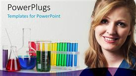 PowerPoint template displaying beautiful young lady with laboratory beakers and test tubes in background