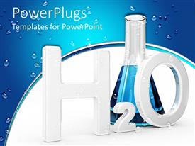 PowerPlugs: PowerPoint template with a test tube with some blue liquid and water droplets