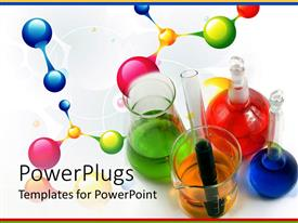 PowerPoint template displaying test tubes, flasks and vials with various colored liquids, atoms and molecules on white background