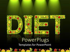 PowerPlugs: PowerPoint template with text DIET in green color with lots of fruits