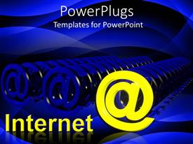 PowerPlugs: PowerPoint template with text Internet with distinct yellow email symbol among several blue symbols