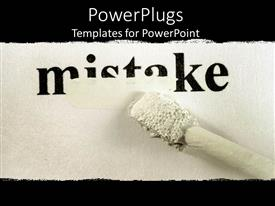 PowerPlugs: PowerPoint template with text 'mistake' written with correcting fluid trying to block out the mistake