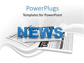 PowerPlugs: PowerPoint template with text news on a bunch of newspaper with map and digital artwork in background