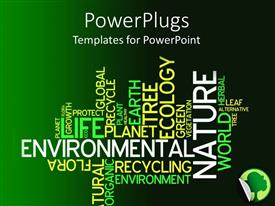 PowerPoint template displaying text related to environment with a mixture of dark and light greenish background