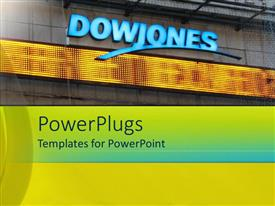 PowerPlugs: PowerPoint template with a text that spell out the word 'Dowjones'