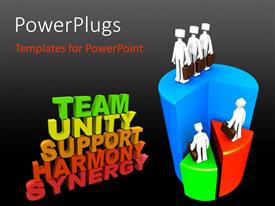 PowerPlugs: PowerPoint template with a text that spell out the words 'Team, Unity, Support, Harmony, Synergy'