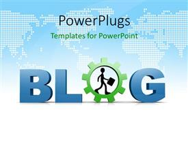 PowerPlugs: PowerPoint template with a text which spells out the word 'blog' and on a map background