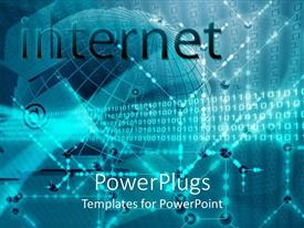 PowerPoint template displaying text which spells out the word internet and a transparent globe