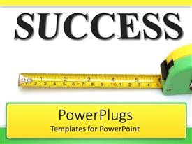 PowerPlugs: PowerPoint template with text SUCCESS and measuring tape depicting measured success achievement