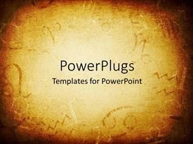 PowerPoint template displaying texture of old paper with zodiac signs abstract astrology theme