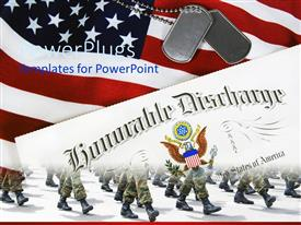 PowerPlugs: PowerPoint template with th american soldiers on the move along with American flag and tags