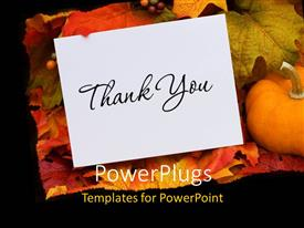PowerPlugs: PowerPoint template with thank you card with a gourd sitting on a fall leaf background