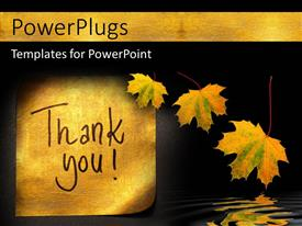 PowerPlugs: PowerPoint template with thank you message handwritten on gold sticker with autumn leaves