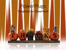 PowerPlugs: PowerPoint template with thanks written on autumn related items, pumpkins, corns in basket, thanksgiving decoration