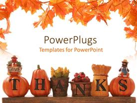 PowerPlugs: PowerPoint template with thanksgiving decoration with beautiful leaves design and white background
