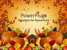 PowerPlugs: PowerPoint template with thanksgiving harvest orange background with fall leaves, pumpkins, mum flowers, grapes, apples and gourds