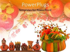 PowerPoint template displaying thanksgiving theme with words give thanks, turkey, pumpkins, gourds, harvest basket, apples, grapes, fruits and vegetables
