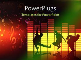 PowerPoint template displaying thee people dancing and jumping on a music theme background