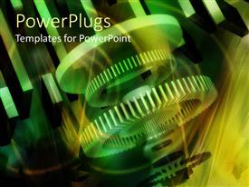 PowerPlugs: PowerPoint template with a theme related to the 3D gears in the middle of functioning