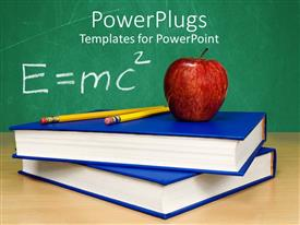 PowerPlugs: PowerPoint template with theory of relativity apple on top of stacked books and two pencils