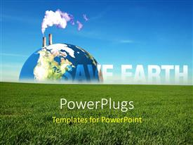PowerPoint template displaying thick smoke coming out of exhaust over earth globe