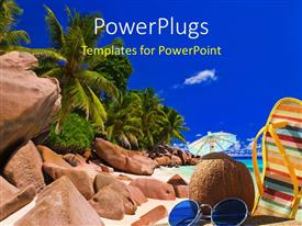 PowerPlugs: PowerPoint template with all the things related to beach with blue sky in the background