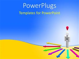 PowerPlugs: PowerPoint template with a white colored 3D character standing at the centre of some arrows