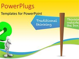 PowerPlugs: PowerPoint template with a 3D character standing under a sign post