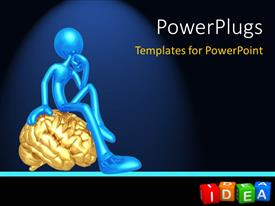 PowerPoint template displaying thoughtful blue figure sitting on gold brain with colored Idea alphabet blocks