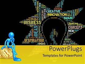 PowerPlugs: PowerPoint template with thoughtful blue figure sitting on gold brain next to star shaped word cloud