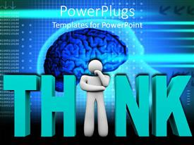 PowerPlugs: PowerPoint template with thoughtful white figure replaces I in Think in front of blue brain
