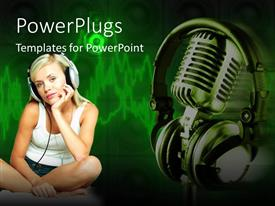 PowerPlugs: PowerPoint template with thoughtful woman wearing headphones next to chrome microphone