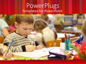 PowerPlugs: PowerPoint template with thoughtful young boy drawing in classroom