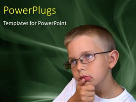 PowerPlugs: PowerPoint template with thoughtful young boy with eye glasses on abstract background