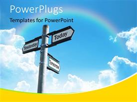PowerPlugs: PowerPoint template with three-way sign pointing to yesterday, today and tomorrow with beautiful rainbow and sky in the background