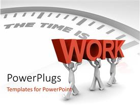 PowerPlugs: PowerPoint template with three 3d characters carrying a text that spell out the word 'Work'