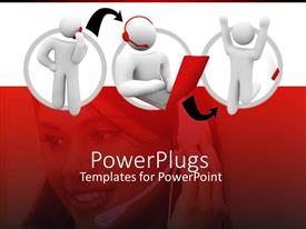 PowerPlugs: PowerPoint template with three 3D characters and a pretty femal call center