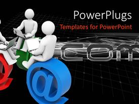 PowerPlugs: PowerPoint template with three 3D figures holding laptops on their laps and sitting on email symbol @