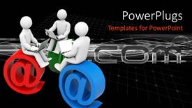 PowerPoint template displaying three 3D figures holding laptops on their laps and sitting on email symbol @