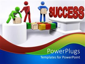 PowerPoint template displaying three 3D figures working in team to achieve success