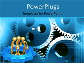PowerPlugs: PowerPoint template with three 3D gold plated men working together with connected gears